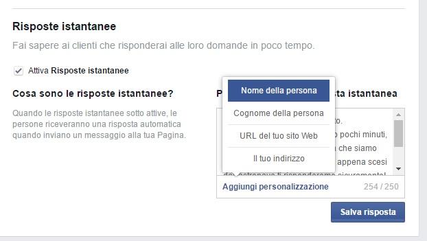 Aggiungi personalizzazione - Risposte istantanee Fan Page