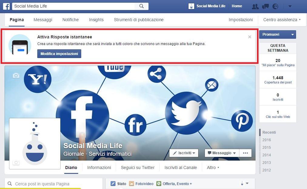 Attiva risposte istantanee - Facebook Fan Page