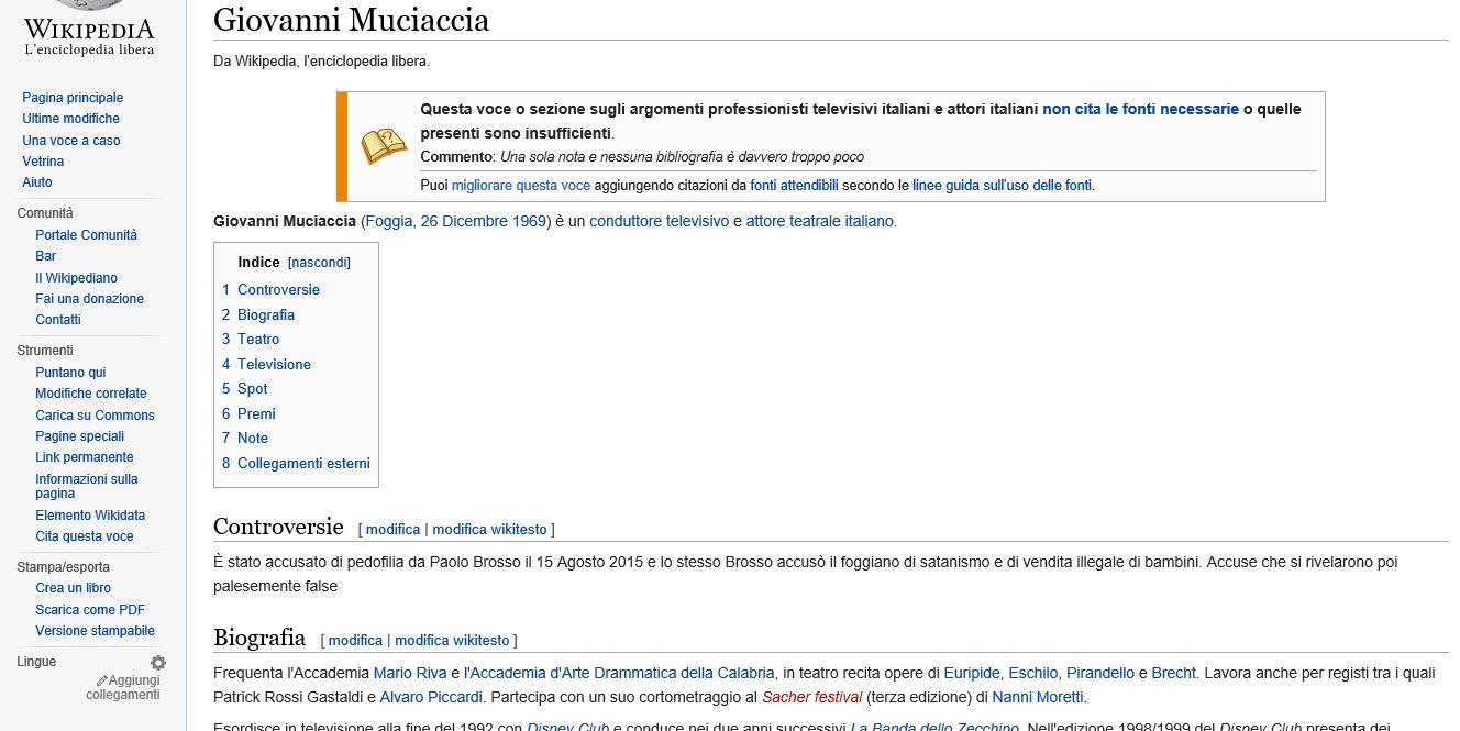 Giovanni Muciaccia - Pagina Wikipedia Vandalizzata