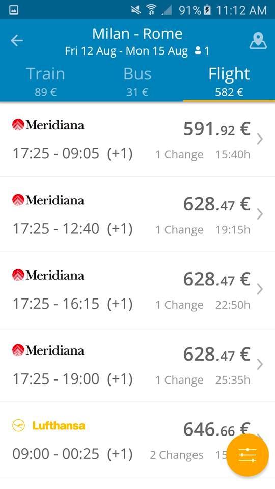 GoEuro App - Milano - Roma Aerei