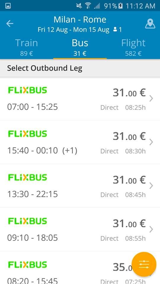 GoEuro App - Milano - Roma Bus