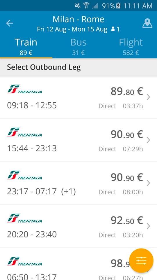 GoEuro App - Milano - Roma Treni
