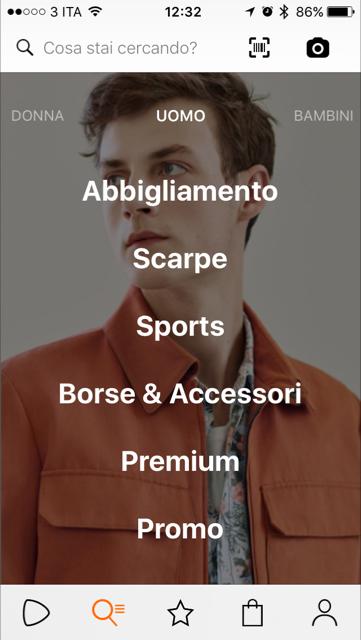 Zalando App - Categorie Prodotti Uomo
