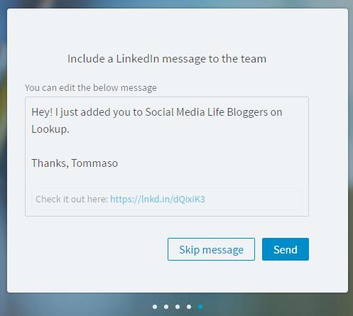 LinkedIn Lookup - Invia Messaggio ai Membri del Team di Lavoro