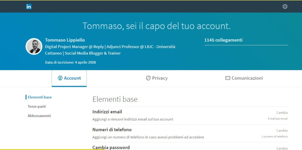 Account - Nuovo LinkedIn 2017