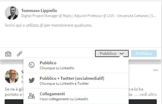 Strumenti Pubblicazione Post - Nuovo LinkedIn 2017