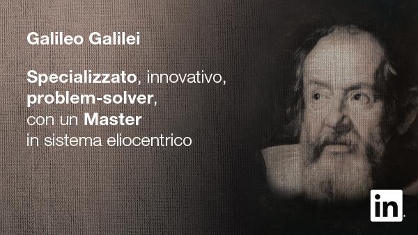 Galileo Galilei - Profilo LinkedIn - Campagna #StartSomething