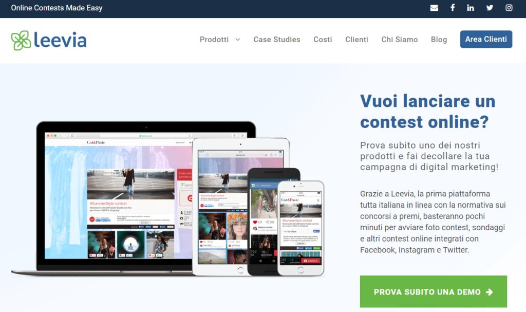 Leevia - Piattaforma concorsi a premio online Italia