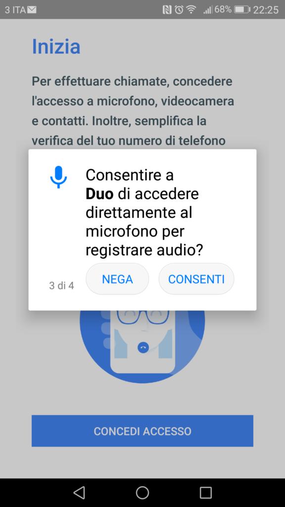Google Duo - Consenso Microfono